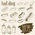 Hot Dog Hand Drawn Set