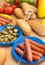 Hot dog ingredients on a table wooden Stock Photo