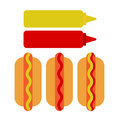 Hot dog, ketchup and mustard flat icon, vector sign, colorful pictogram isolated on white.