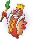 Hot dog king cartoon character a dressed as a with a golden crown and pickle staff Royalty Free Stock Photo