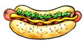 Hot Dog with mustard, grill marks and green relish