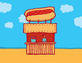 Hot dog parlor at the beach cartoon illustration of a vendor Stock Photos