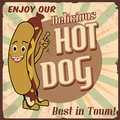 Hot dog poster vintage background vector illustration Stock Photo