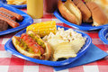Hot dog with relish on a summer cookout Stock Image