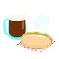 Hot dog and root beer  illustration Royalty Free Stock Photo
