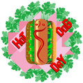 Hot dog sandwich surrounded by edible green plants Royalty Free Stock Photos