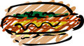 Hot dog sketch Stock Image