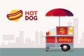Hot dog street cart. Fast food stand vendor service. Kiosk seller business. Flat banner. Vector illustration.