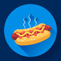 Hot Dog vector icon. hotdog flat fast food illustration Royalty Free Stock Photo