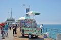 Hot dog vendor this is a on the santa monica beach pier at santa monica california Royalty Free Stock Photo