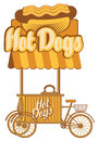 Hot dog on wheels mobile tray selling dogs in retro style Stock Photos
