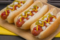 Hot Dogs in Buns Royalty Free Stock Photo