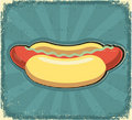 Hot dogs poster.Retro image on old paper Stock Photo