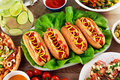 Hot Dogs with sausage, mustard and ketchup on lives salad Royalty Free Stock Photo