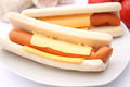 Hot dogs some fresh on a plate Royalty Free Stock Photography