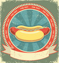 Hot dogs.Vintage label Royalty Free Stock Photo