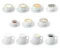 Hot drinks set of isolated on white background Royalty Free Stock Photography