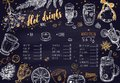 Hot drinks Winter Menu. Design template includes different hand drawn illustrations and Brushpen Lettering. Beverages, drinks Royalty Free Stock Photo