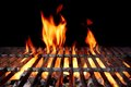 Hot Empty Charcoal BBQ Grill With Bright Flames Royalty Free Stock Photo
