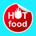 Hot food sticker indicates temperature indicator and best representing foremost cafeteria perfect Royalty Free Stock Images
