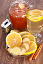 Hot ginger lemon tea and cinnamon honey Stock Photography
