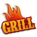 Hot grill label isolated on white background Royalty Free Stock Image