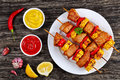 Hot Grilled pork meat with corn cob slices Royalty Free Stock Photo