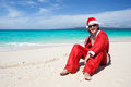 Hot Happy Chistmas on beach Stock Photos