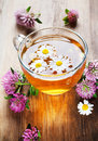 Hot herbal tea with clover Royalty Free Stock Photo