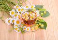 Hot herbal tea with linden and camomile flowers on a wood table background Stock Image