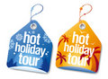 Hot holiday tour labels. Stock Image