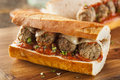 Hot and homemade spicy meatball sub sandwich with marinara sauce cheese Royalty Free Stock Photography