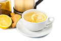 Hot honey ginger lemon tea in cup transparent glass Royalty Free Stock Photo