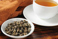 Hot jasmine tea a cup of with a sample dish of hand sewn pearls Stock Photography