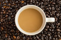 Hot latte coffee cup on coffee beans background Photo libre de droits