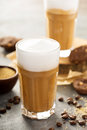 Hot latte with thick foam Royalty Free Stock Photo