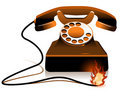 Hot Line - Burning Telephone Stock Photo