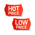 Hot and Low Price labels Royalty Free Stock Photo
