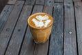 Hot Milk Art Coffee On Wooden ...