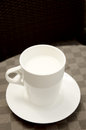 Hot milk cup on table Royalty Free Stock Photography