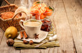 Hot morning coffee with smoke and breakfast Royalty Free Stock Photo