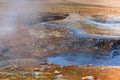 Hot Mud Pots in the Geothermal Area Hverir, Iceland Royalty Free Stock Photography