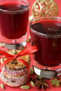 Hot mulled wine for Christmas, cookies, spices Royalty Free Stock Images