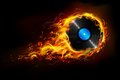 Hot music illustration of disc in fire flame for sizzling background Stock Photos