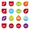 Hot new fresh top cool set of webdesign buttons isolated on white background Stock Image