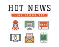 Hot news icons flat style colorful set websites mobile and print media newspaper communication concept internet