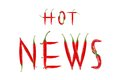 Hot news text composed of chili peppers isolated on white background Royalty Free Stock Photo