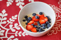 Hot oatmeal breakfast with fresh fruits Royalty Free Stock Photo
