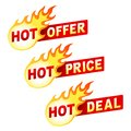 Hot offer, price and deal flame sticker badges Royalty Free Stock Photo