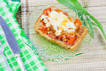 Hot open sandwich with sausage Royalty Free Stock Photos